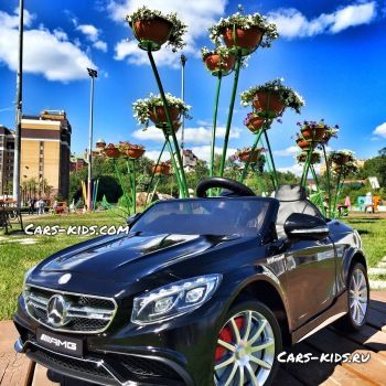 Электромобиль Mercedes-Benz S63 AMG (резиновые колеса, кожа, пульт, музыка, ГЛЯНЦЕВАЯ ПОКРАСКА)