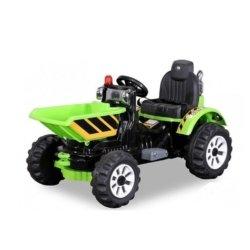 Детский электромобиль трактор на аккумуляторе зеленый - Jiajia JS328C-G (колеса накладки резина, ковш)