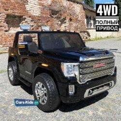 Детский электромобиль GMC Sierra Denali 4WD 12V - BLACK - HL368  (легко съемный аккумулятор, 4WD, 2х местный, колеса резина, сиденье кожа, пульт, музыка)