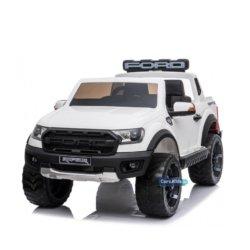 Электромобиль Ford Ranger Raptor белый (2х местный, колеса резина, кресло кожа, пульт, музыка)