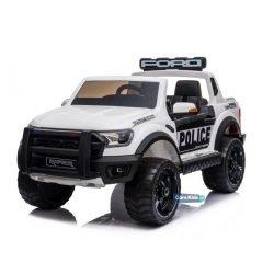 Электромобиль Ford Ranger Raptor Police белый (полицейский, 2х местный, колеса резина, кресло кожа, пульт, музыка)