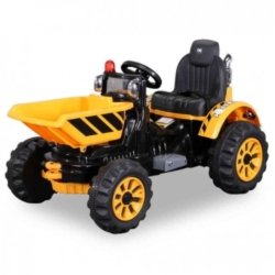 Детский электромобиль трактор на аккумуляторе желтый - JS328C-Y (колеса накладки резина, ковш)