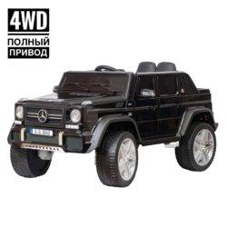 Электромобиль Mercedes-Benz Maybach Small G650S черный (полный привод, колеса резина, кресло кожа, пульт, музыка)