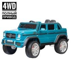 Электромобиль Mercedes-Benz Maybach Small G650S синий (полный привод, колеса резина, кресло кожа, пульт, музыка)