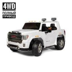 Детский электромобиль GMC Sierra Denali 4WD 12V - WHITE - HL368  (легко съемный аккумулятор, 4WD, 2х местный, колеса резина, сиденье кожа, пульт, музыка)